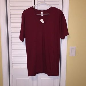 American Apparel dark red v-neck T-shirt